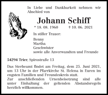 Traueranzeige von Johann Schiff von trierischer_volksfreund