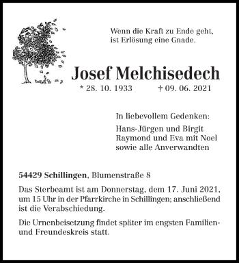 Traueranzeige von Josef Melchisedech von trierischer_volksfreund