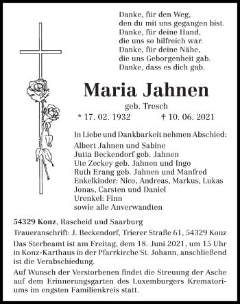 Traueranzeige von Maria Jahnen von trierischer_volksfreund