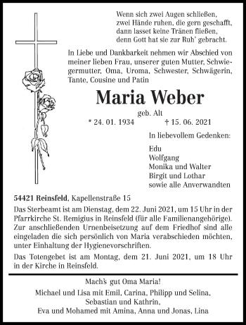 Traueranzeige von Maria Weber von trierischer_volksfreund