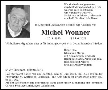 Traueranzeige von Michel Wonner von trierischer_volksfreund