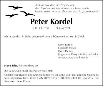 Traueranzeige von Peter Kordel von trierischer_volksfreund