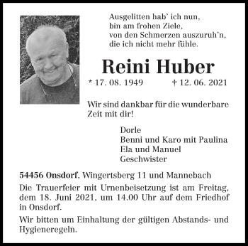 Traueranzeige von Reini Huber von trierischer_volksfreund