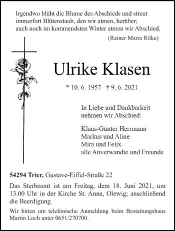 Traueranzeige von Ulrike Klasen von trierischer_volksfreund