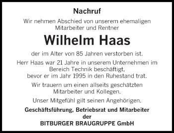 Traueranzeige von Wilhelm Haas von trierischer_volksfreund