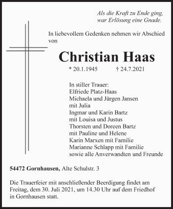 Traueranzeige von Christian Haas von trierischer_volksfreund