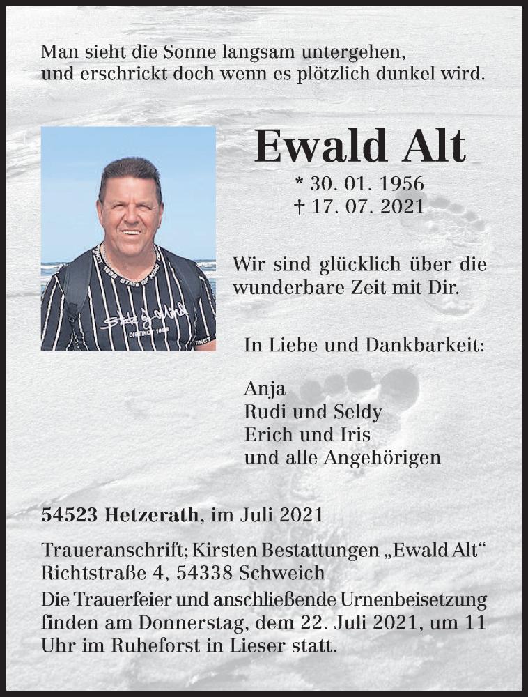 Traueranzeige für Ewald Alt vom 20.07.2021 aus trierischer_volksfreund