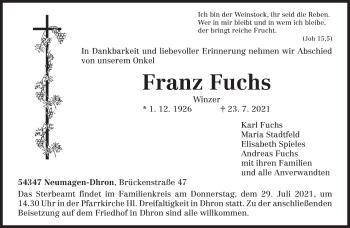 Traueranzeige von Franz Fuchs von trierischer_volksfreund