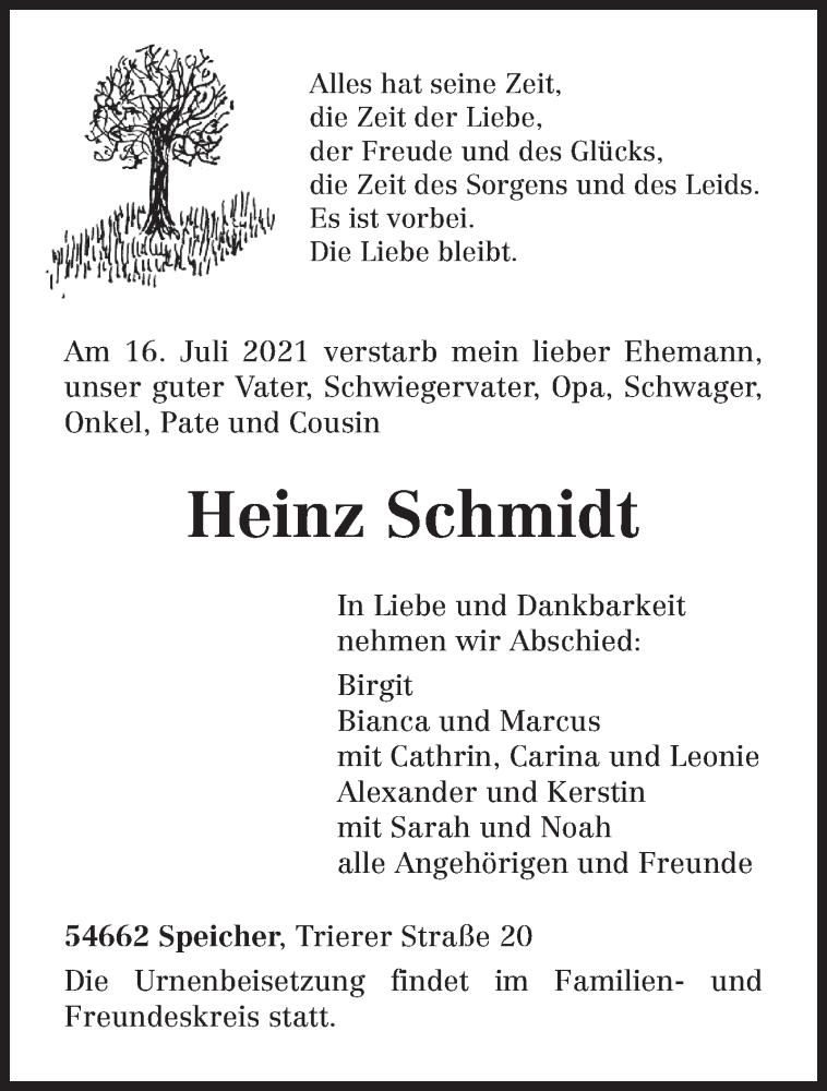 Traueranzeige für Heinz Schmidt vom 21.07.2021 aus trierischer_volksfreund