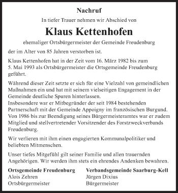 Traueranzeige von Klaus Kettenhofen von trierischer_volksfreund