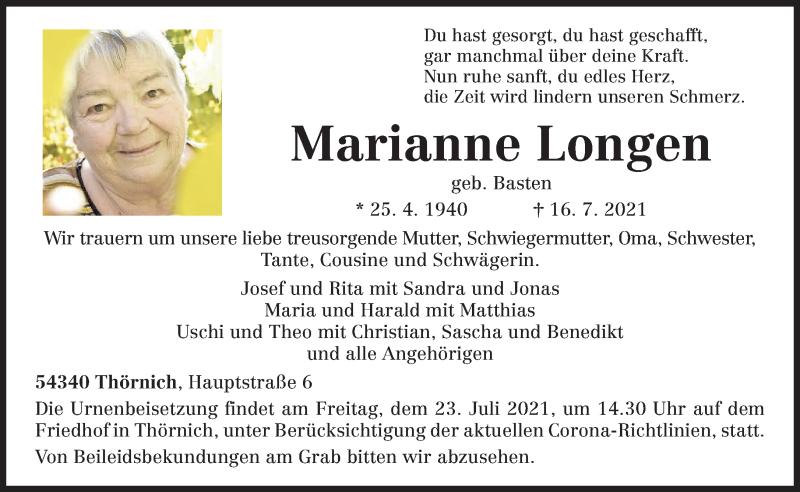 Traueranzeige für Marianne Longen vom 21.07.2021 aus trierischer_volksfreund