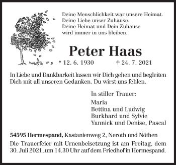 Traueranzeige von Peter Haas von trierischer_volksfreund