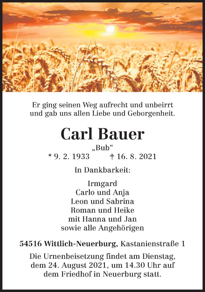 Traueranzeige für Carl Bauer vom 21.08.2021 aus trierischer_volksfreund