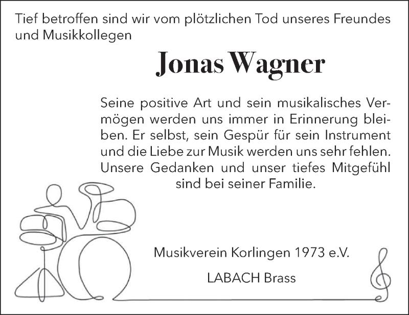Traueranzeige für Jonas Wagner vom 21.08.2021 aus trierischer_volksfreund