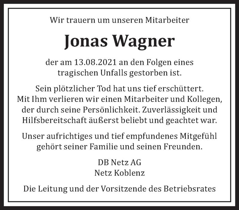 Traueranzeige für Jonas Wagner vom 25.08.2021 aus trierischer_volksfreund