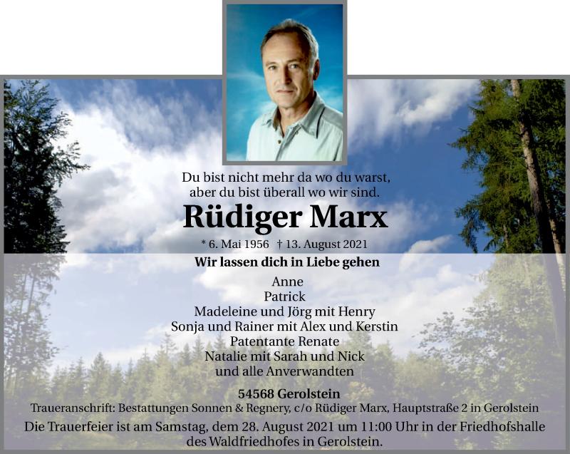 Traueranzeige für Rüdiger Marx vom 21.08.2021 aus trierischer_volksfreund