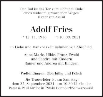 Traueranzeige von Adolf Fries von trierischer_volksfreund