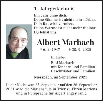 Traueranzeige von Albert Marbach von trierischer_volksfreund