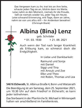 Traueranzeige von Albina Lenz von trierischer_volksfreund