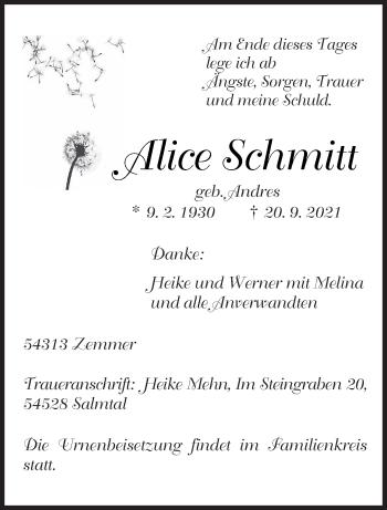Traueranzeige von Alice Schmitt von trierischer_volksfreund
