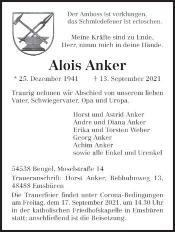 Traueranzeige von Alois Anker von trierischer_volksfreund