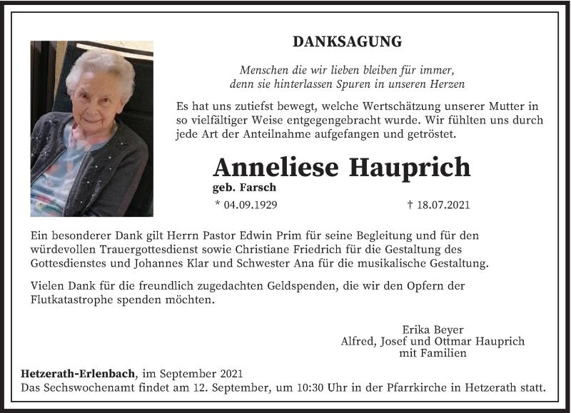 Traueranzeige für Anneliese Hauprich vom 04.09.2021 aus trierischer_volksfreund