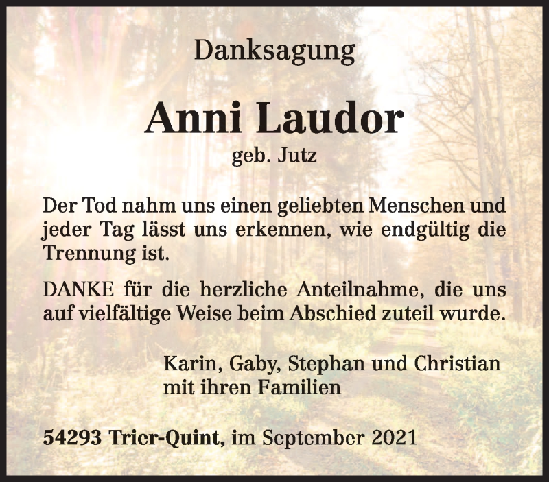Traueranzeige für Anni Laudor vom 25.09.2021 aus trierischer_volksfreund
