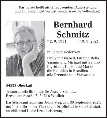 Traueranzeige von Bernhard Schmitz von trierischer_volksfreund