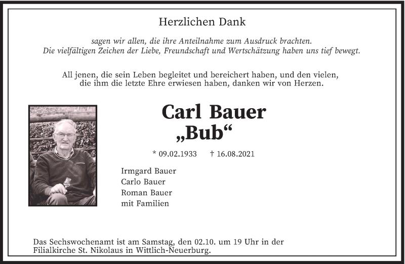 Traueranzeige für Carl Bauer vom 25.09.2021 aus trierischer_volksfreund