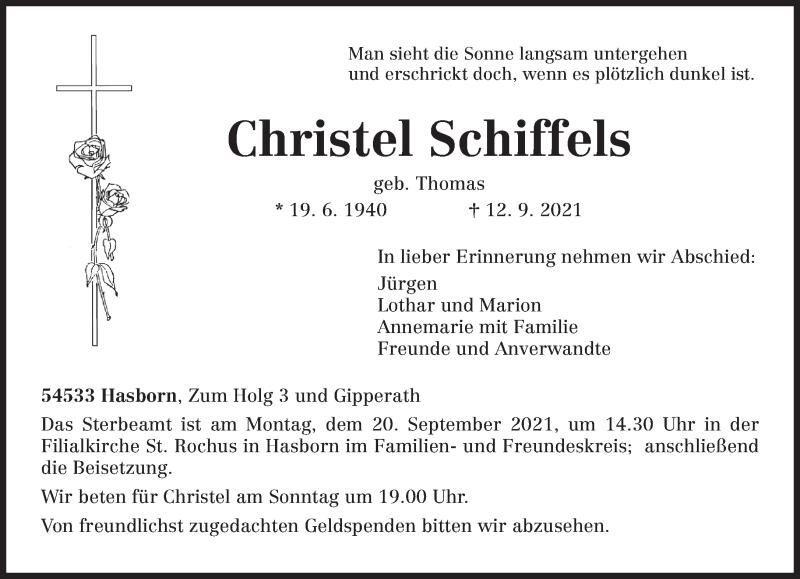 Traueranzeige für Christel Schiffels vom 15.09.2021 aus trierischer_volksfreund