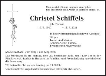 Traueranzeige von Christel Schiffels von trierischer_volksfreund