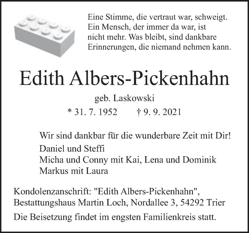 Traueranzeige für Edith Albers-Pickenhahn vom 15.09.2021 aus trierischer_volksfreund