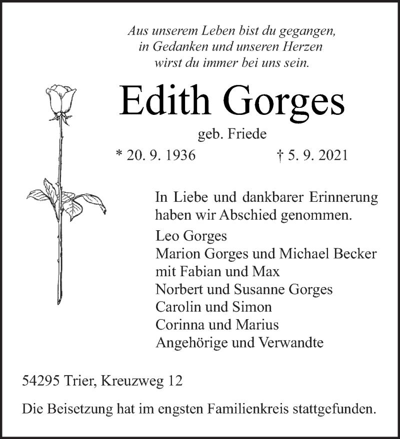 Traueranzeige für Edith Gorges vom 15.09.2021 aus trierischer_volksfreund