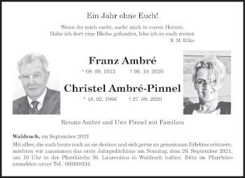 Traueranzeige von Franz und Christel  von trierischer_volksfreund