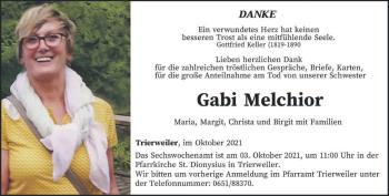 Traueranzeige von Gabi Melchior von trierischer_volksfreund