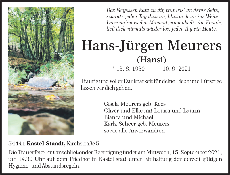 Traueranzeige für Hans-Jürgen Meurers vom 13.09.2021 aus trierischer_volksfreund