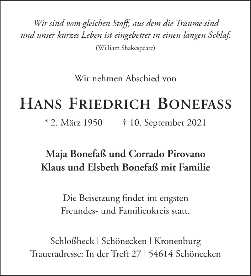 Traueranzeige für Hans Friedrich Bonefass vom 11.09.2021 aus trierischer_volksfreund