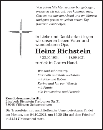 Traueranzeige von Heinz Richstein von trierischer_volksfreund
