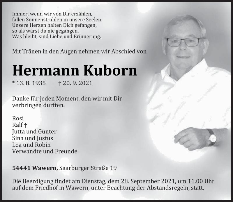 Traueranzeige für Hermann Kuborn vom 25.09.2021 aus trierischer_volksfreund