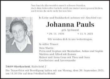Traueranzeige von Johanna Pauls von trierischer_volksfreund