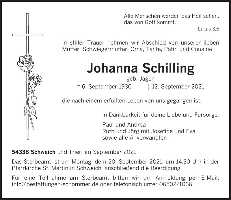 Traueranzeige für Johanna Schilling vom 15.09.2021 aus trierischer_volksfreund