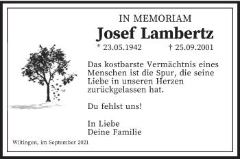 Traueranzeige von Josef Lambertz von trierischer_volksfreund