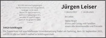 Traueranzeige von Jürgen Leiser von trierischer_volksfreund