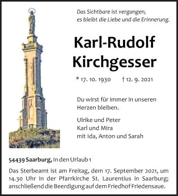 Traueranzeige von Karl-Rudolf Kirchgesser von trierischer_volksfreund