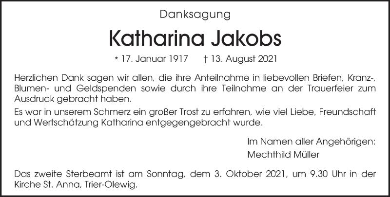 Traueranzeige für Katharina Jakobs vom 25.09.2021 aus trierischer_volksfreund
