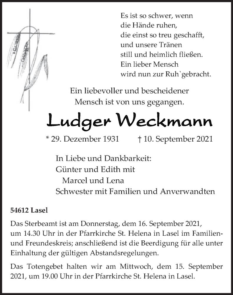 Traueranzeige für Ludger Weckmann vom 13.09.2021 aus trierischer_volksfreund