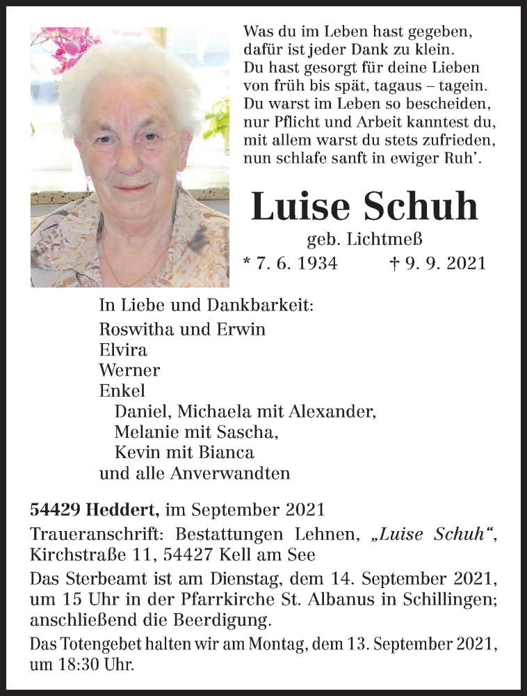 Traueranzeige für Luise Schuh vom 11.09.2021 aus trierischer_volksfreund