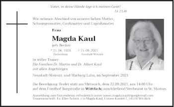 Traueranzeige von Magda Kaul von trierischer_volksfreund
