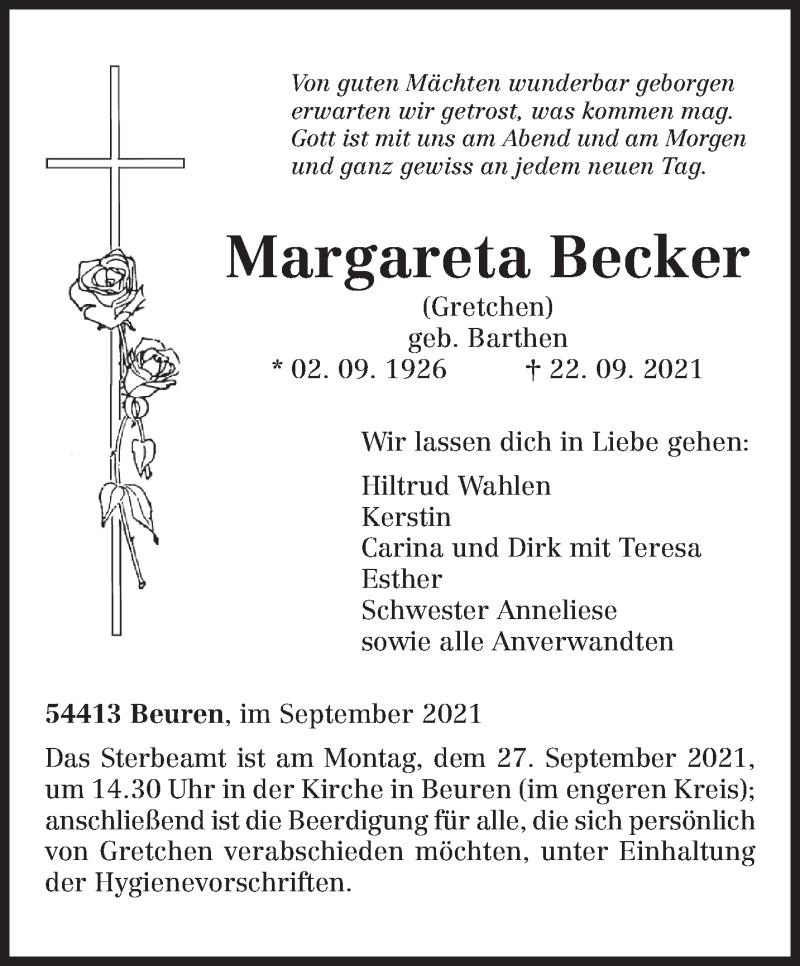 Traueranzeige für Margareta Becker vom 25.09.2021 aus trierischer_volksfreund