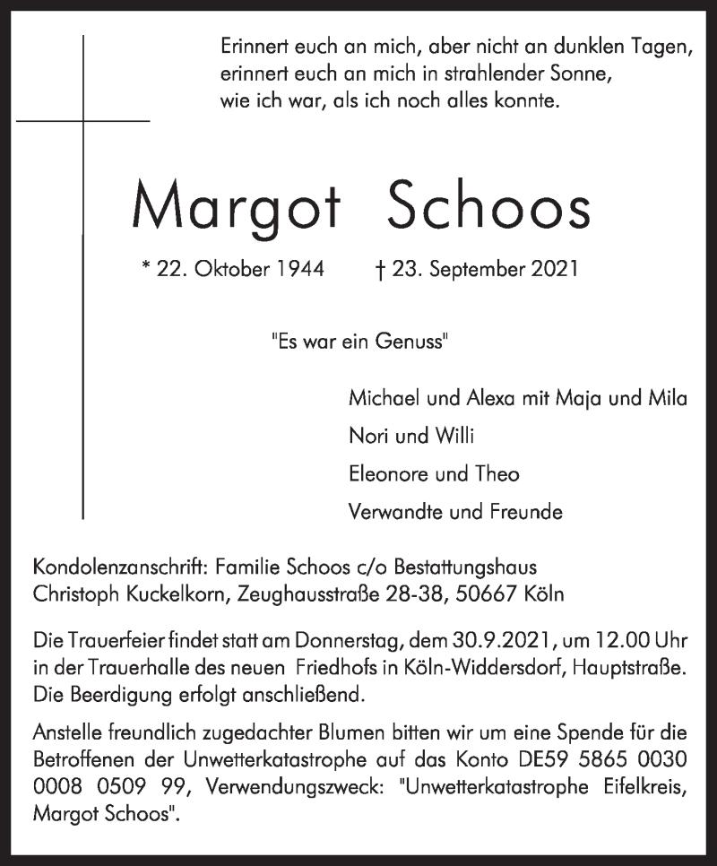 Traueranzeige für Margot Schoos vom 25.09.2021 aus trierischer_volksfreund